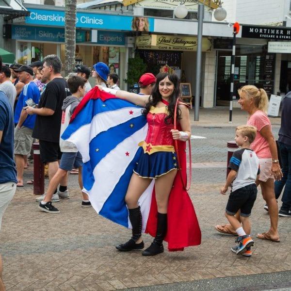 Wonderwoman at a street event in Takapuna, Auckland