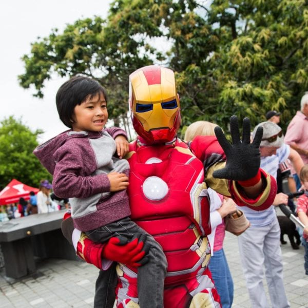 Ironman with a young fan