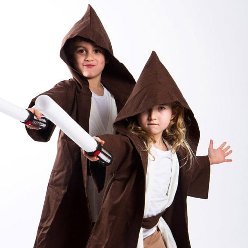 Jedi Robe Kids modelling in Brown