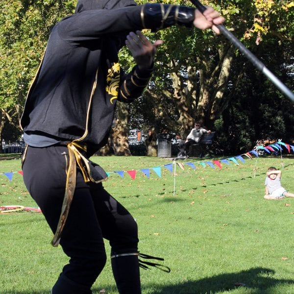 Ninja Warrior staff balancing act