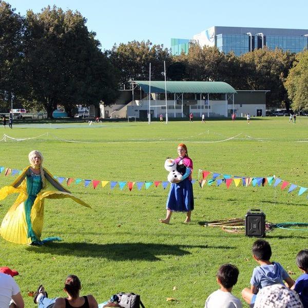 Frozen Elsa & Anna at outdoor event