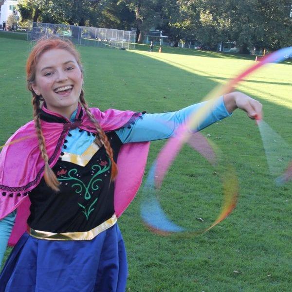 Frozen Anna having fun with ribbon wands