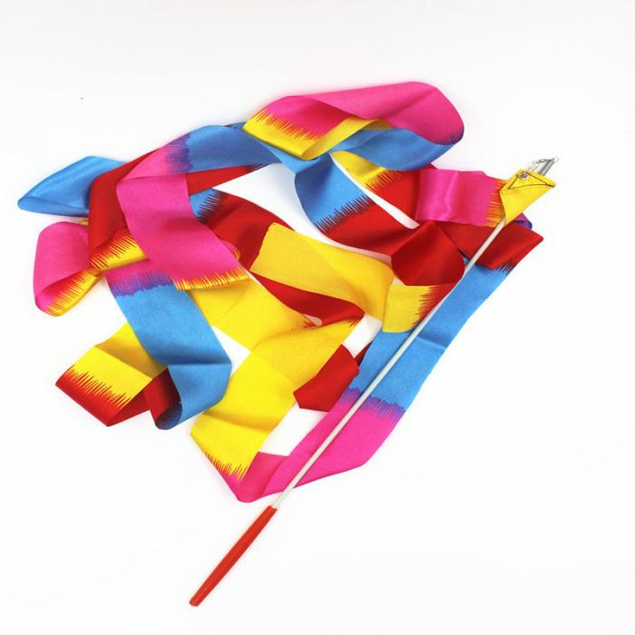 Ribbon Dancing Wands painted rainbow striped
