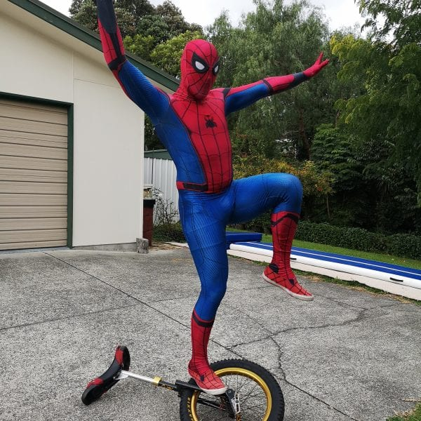 Online Party Spiderman Unicycling
